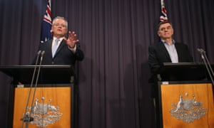 Australia's prime minister Scott Morrison and chief medical officer Brendan Murphy at a press conference