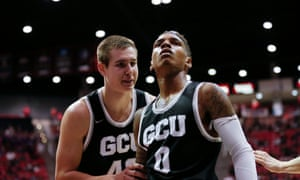 Dewayne Russell and Gerard Martin of GCU. The Antelopes finished in a tie for second in the Western Athletic Conference.