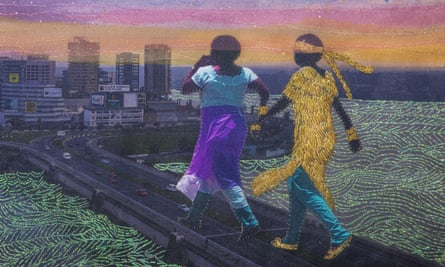A detail from It's Only For Your Good by Joana Choumali. 'The picture was shot in Plateau, Abidjan. Two women cross a bridge. One is talking to her cellphone, while holding the hand and leading another woman, who follows, blinded by a golden scarf.'