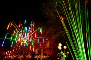 """'Garden of Light' a series of illuminated tropical summer plants in the college gardens by french artist Tilt alongside artist Migeul Chevalier's 'Complex Meshes 2015""""'on the vaulted roof of Durham Cathedral"""