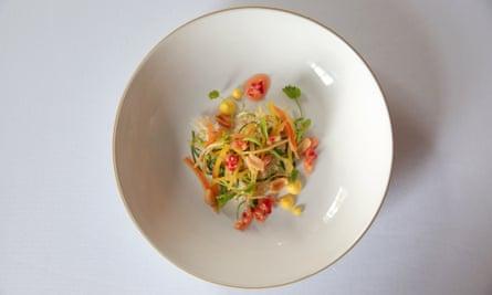 'Fresh, sweet, salty, invigorating': white crab with peanuts.