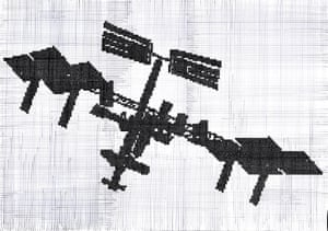 International Space Station 2016, a drawing for Aleksandra Mir's space tapestry.