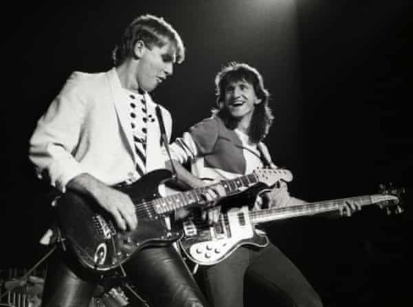 Alex Lifeson and Geddy Lee performing at Ahoy, Rotterdam, 3 May 1983.