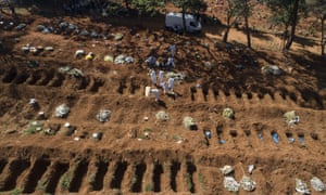 Cemetery workers in protective clothing bury a Covid-19 victim in São Paulo, Brazil.
