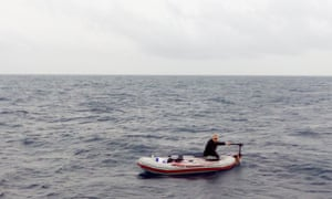 The Syrian refugee spotted in his rubber boat off Libya's coast by the rescue boat of the Proactiva Open Arms group.