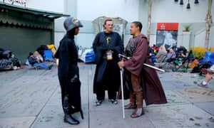 Star Wars: The Force Awakens fans camp out before the film's premiere in Los Angeles.