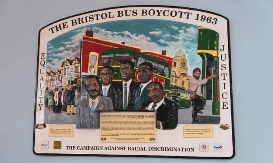 A plaque at Bristol bus station commemorating the bus boycott of 1963