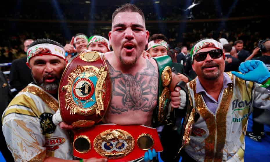 Andy Ruiz Jr celebrates with his team after defeating Anthony Joshua at Madison Square Garden this month.