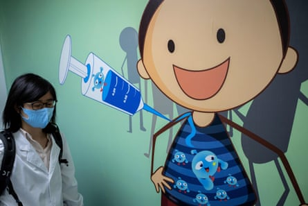 A mural at the Sinovac Biotech facilities in Beijing, which is conducting one of the four clinical trials for a Covid-19 vaccine that have been authorised in China.