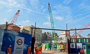 Workmen at Crossrail construction site, Tottenham Court Road, St Giles Circus, London, England, United Kingdom