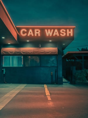 Midnight Car Wash  in Los Angeles by photographer Franck Bohbot.