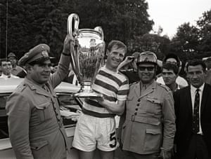 Billy McNeill with the European Cup in 1967, after Celtic's victory over Internazionale in Lisbon.