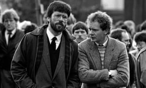 Gerry Adams and Martin McGuinness at the funeral of the reputed IRA commander Patrick Kelly, in 1987.