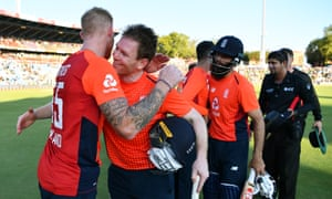 Eoin Morgan embraces Ben Stokes after England's victory in the third T20 cricket international against South Africa in Centurion.