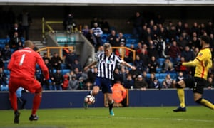 Millwall's Steve Morison scores his side's goal during the FA Cup match against Watford