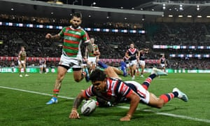 Latrell Mitchell scores for the Roosters