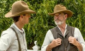 'I don't know why you're smirking Pierce?' … Pierce Brosnan as Eli McCullough, Henry Garrett as Pete McCullough