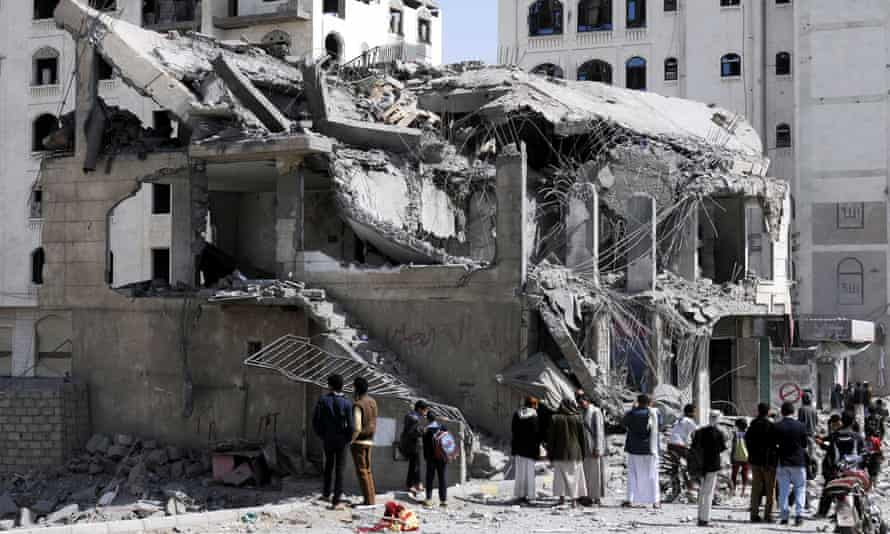 The destroyed Sanaa house of Judge Yahya Roubaid, after it was hit in an airstrike carried out by the Saudi-led coalition, killing eight people.