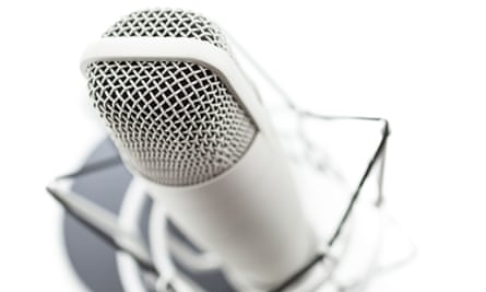 a studio microphone for recording podcasts.