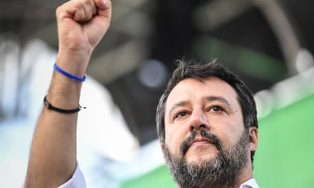 Matteo Salvini gestures at the start of the rally in Rome