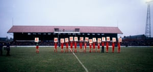 The Middlesbrough players with a Christmas greeting for the fans at Ayresome Park in 1980