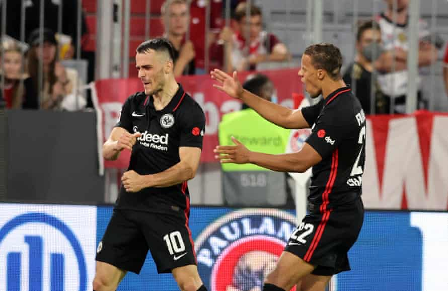 Filip Kostic of Eintracht Frankfurt celebrates after scoring  the winning goal in the 2-1 defeat of Bayern Munich.