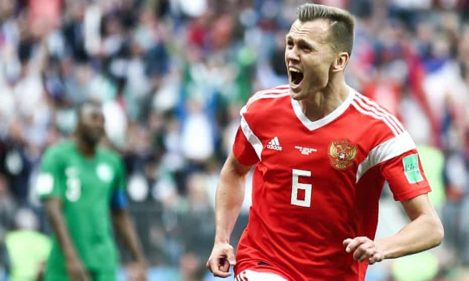 Denis Cheryshev celebrates scoring the first of his two goals against Saudi Arabia in Russia's 5-0 win at the Luzhniki Stadium.