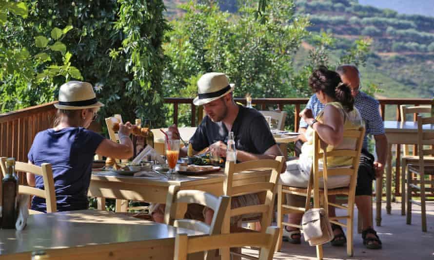 Cafe at Botanical Park Gardens of Crete.