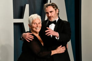 Joaquin Phoenix and his mother Arlyn Phoenix at the Vanity Fair party.