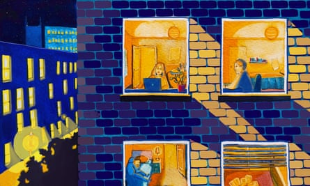 Illustration of students in a flat.