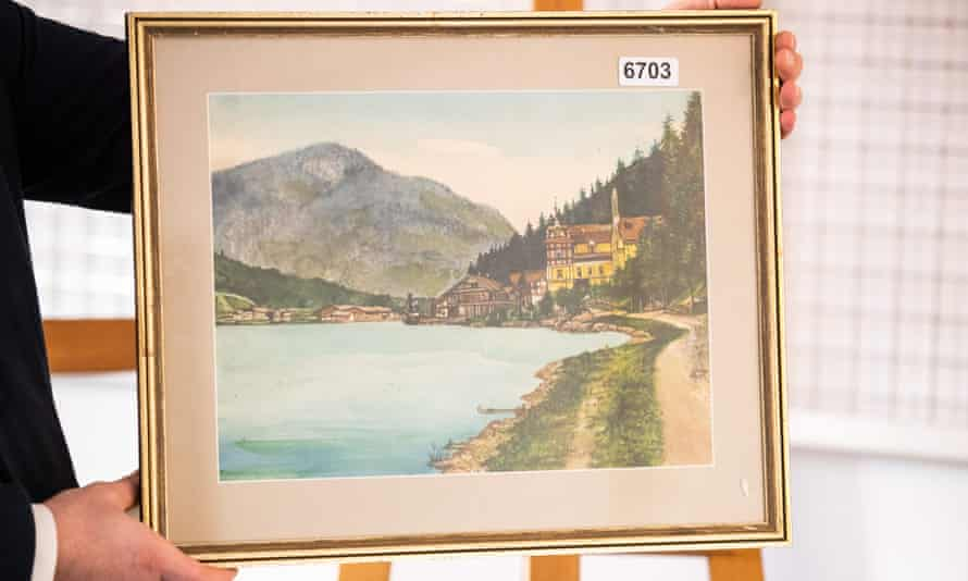 A watercolour attributed to Adolf Hitler on display ahead of auction in Nuremberg on Saturday.