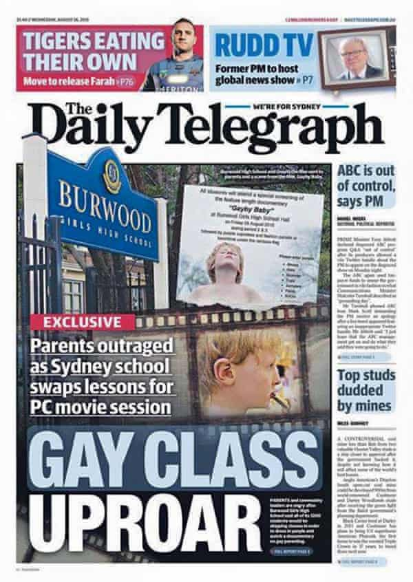 The cover of the Daily Telegraph on 26 August.