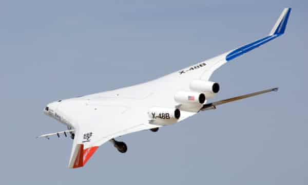 A blended wing body plane