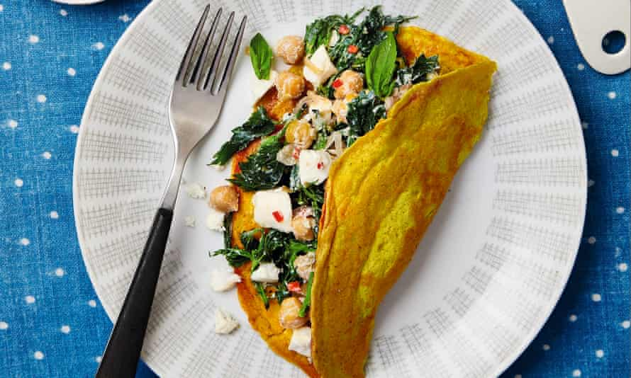 Thomasina Miers' chickpea pancake with nettles and salted ricotta.