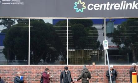 People queue outside Centrelink