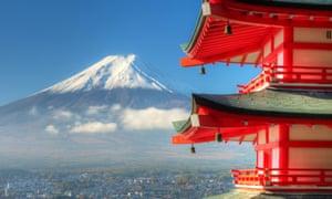 Mt Fuji viewed from the Arakura Sengen Shrine above the town of Fujiyoshida.