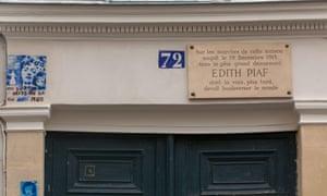 Plaque above 72 rue de Belleville, Paris, France, where it is rumoured that singer Edith Piaf was born.