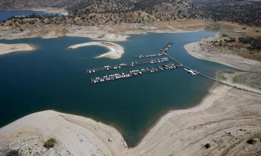 Reservoir banks that used to be underwater are seen at Millerton Lake in Friant, California.