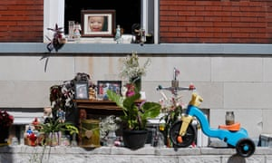 A memorial for Xavier Usanga, aged seven, who was killed earlier this year while playing with his older sister near his home.