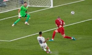Italy's Lorenzo Insigne shoots at goal.