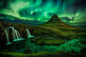 Aurora Borealis over Mount Kirkjufell, Iceland