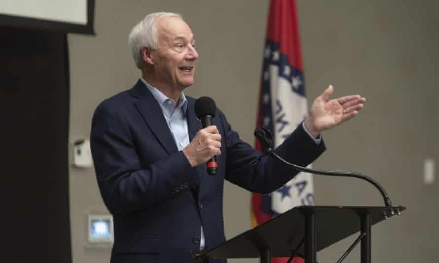 The Arkansas governor, Asa Hutchinson, speaks in Texarkana in July.