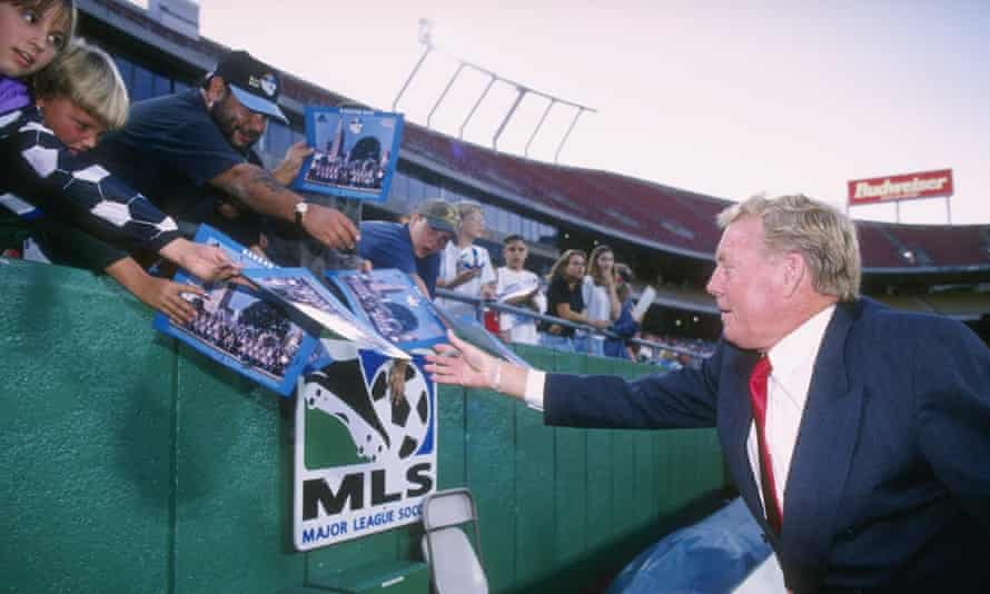Ron Newman of the Kansas City Wizards talks with the crowd during their 1-0 MLS loss to the San Jose Clash at Arrowhead Stadium in 1996.