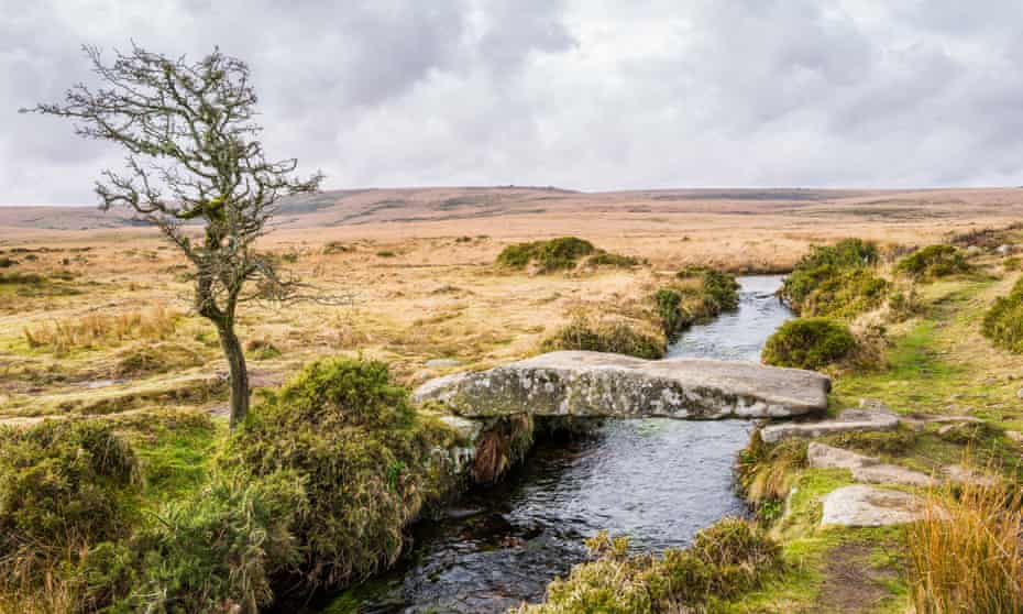 Clapper bridge over the Walla Brook on Scorhill Down, Dartmoor National Park