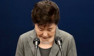 South Korean President Park Geun-hye bows after addressing the nation over a political scandal involving her and her longtime friend Choi Soon-sil at the presidential office in Seoul, South Korea.