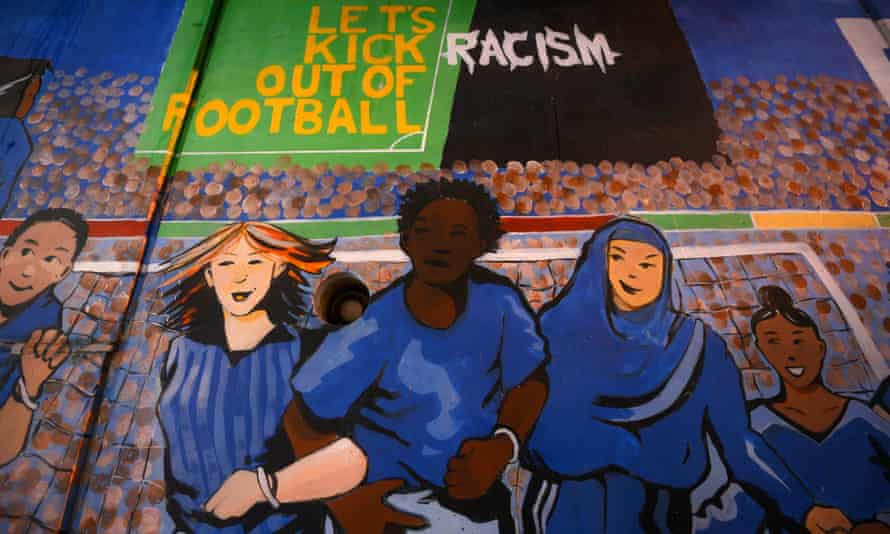 Let's Kick Racism Out of Football artwork inside Birmingham City's St Andrew's ground.