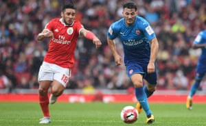 Sead Kolasinac, right, in action here against Benfica, looks a steal on a free transfer.