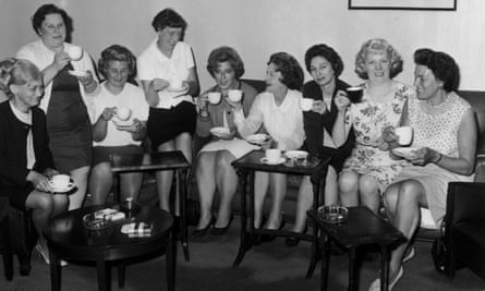 Barbara Castle (fourth from right), secretary of state for Employment and Productivity, shares a cup of tea with the women from the Ford plant in Dagenham, 28th June 1968.
