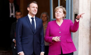 Emmanuel Macron and Angela Merkel in Toulouse, France