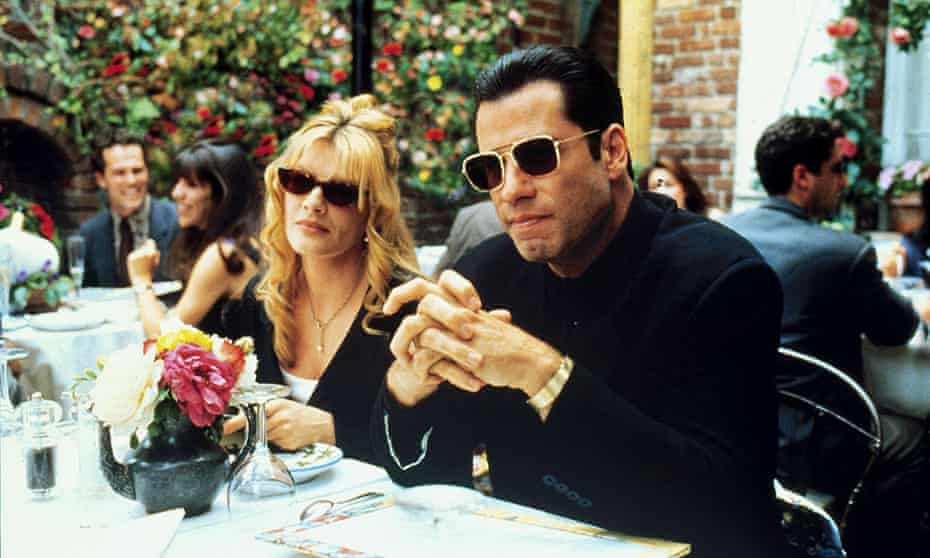 Rene Russo and John Travolta in the 1995 film of Get Shorty, directed by Barry Sonnenfeld.